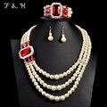2015 Hot Casamento Nigeriano Beads Africanos Set Jóias Real Traje Branco Grânulos De Cristal Colar de Pérola Simulada Conjunto de Jóias V058