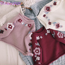 Baby Girl sweater Hand-made Knitted Sweater embroidery flower Childrens Coat Thick Clothes