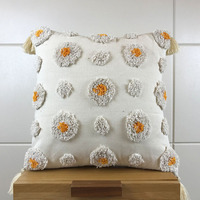 Wool Pillow Case Handmade Cushion Cover Morocco Style with Tassels Colorful Pompom For Sofa Seat Home Decor Linen 45*45cm
