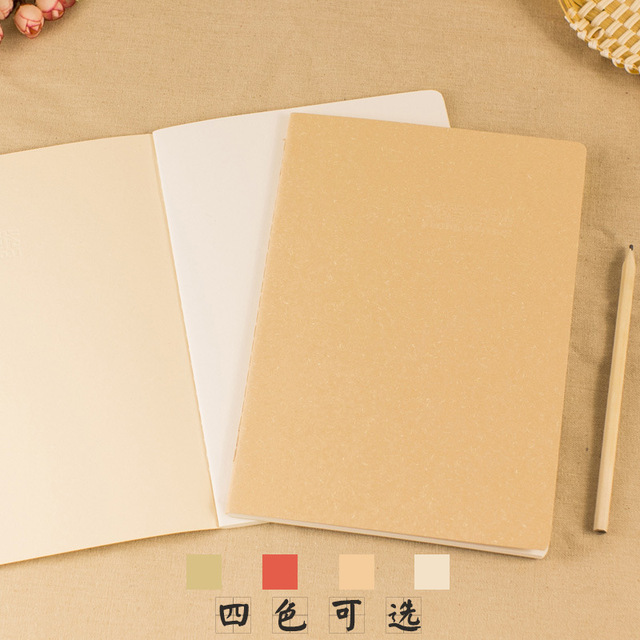 1pcs this simple plain stationery leather blank page portable