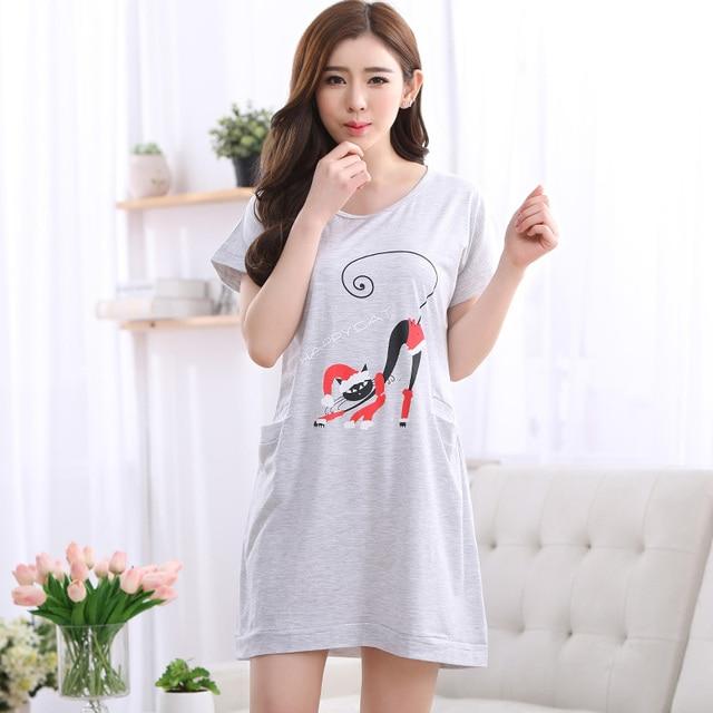 Brand New Cotton Shirts Women s Gray Nightgowns Sleepshirts Cartoon Nightdress  Girl Sleepwear Femme Pyjamas Women Lounge Dress 6231e4215