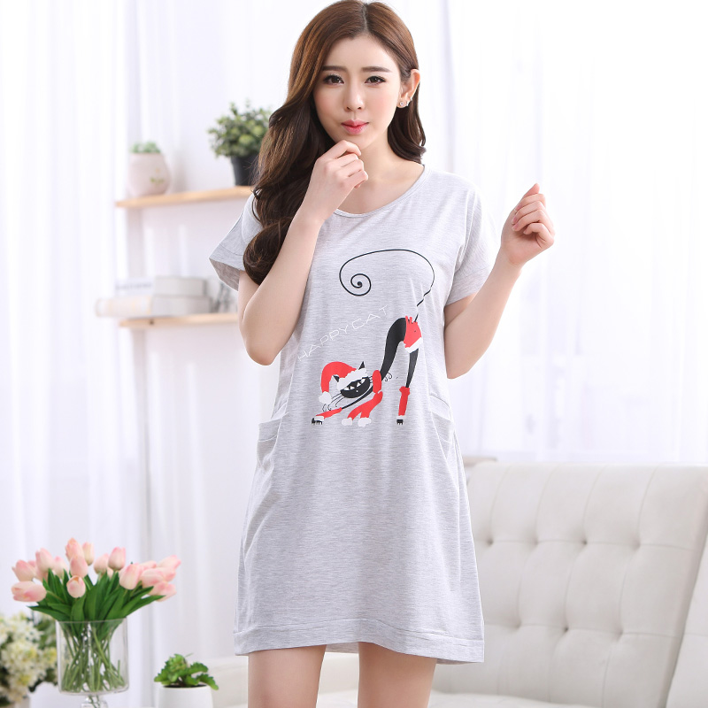 Brand New Cotton Shirts Women's Gray   Nightgowns     Sleepshirts   Cartoon Nightdress Girl Sleepwear Femme Pyjamas Women Lounge Dress