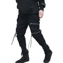 New Hip Hop Streetwear Joggers Men Black Zipper Ribbon Harem Pants Cotton Casual Slim Street Style Ankle Length Sweatpants Men