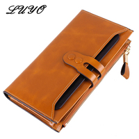 LUYO Genuine Leather Cowhide Long Holdings Women Slim Wallet Female Card Holder Womens Wallets And Purses Handy Carteras Contact