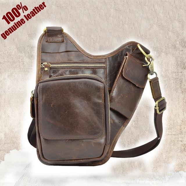 Hot 2015 New design fashion brown small 100% genuine leather bag men  messenger bags vintage men shoulder bags chest pack bolsos 1df877b3c67f2