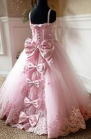 Pink lace up back crystals rhinestones princess beauty pageant gown spaghetti straps sweetheart flower girl dresses with bow