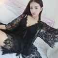 Lisacmvpnel Кружева Sexy 3 Шт. Женщин Халат Установить С Pad Спагетти Ремень Ночная Рубашка + Халат + Короткий Набор Женщин, Халат