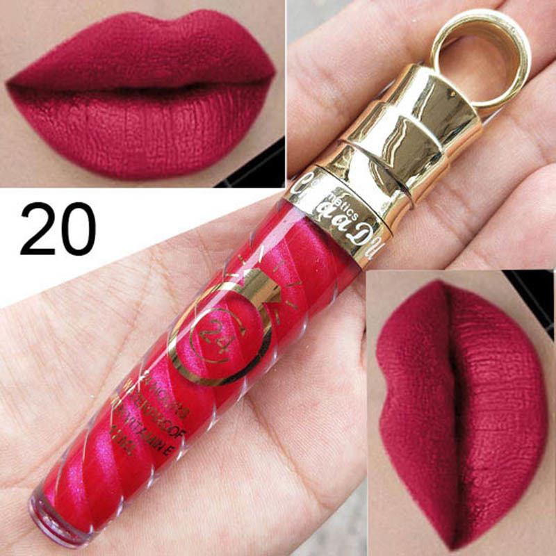 CmaaDu 20 Colors Thread Tube Radish Head Matte Metal Pearl Long-lasting Make-up Lip Gloss Easy to Carry Cosmetic TSLM2 6