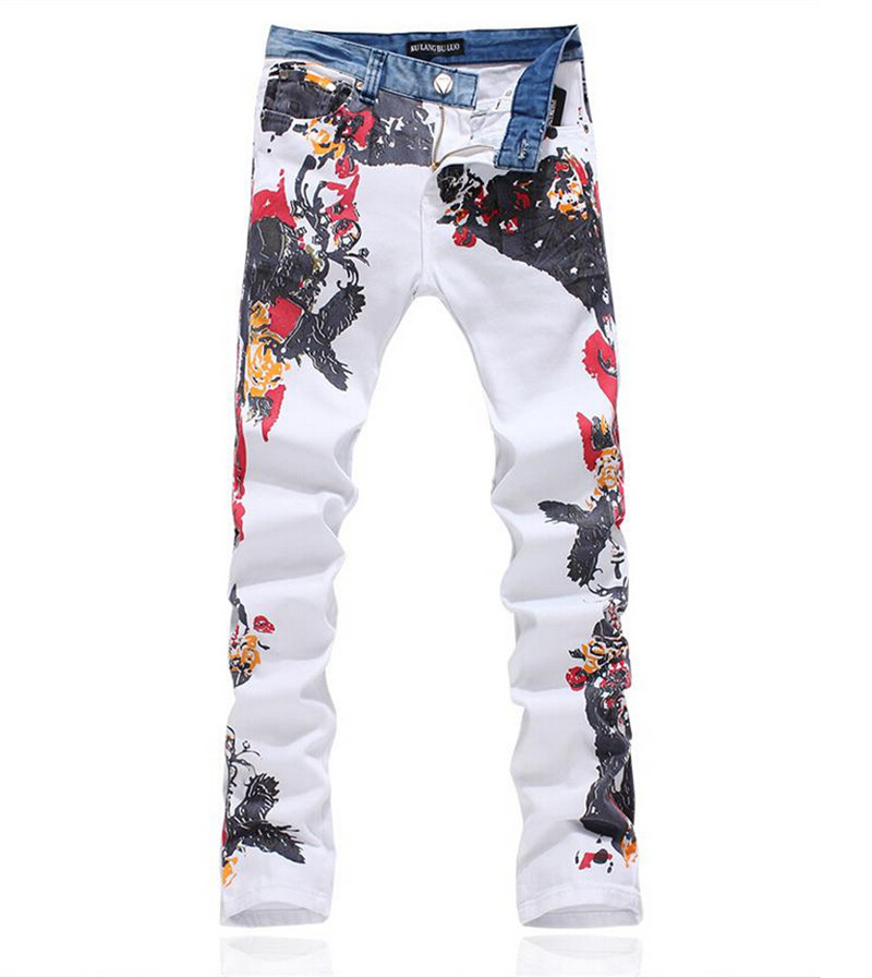 ФОТО Hot Sale New 2015 Men Robin Jeans Printed Jeans Men High Fashion Jeans Homme Mens Denim Overalls Size 28-38