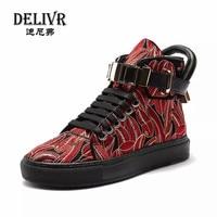Delivr кроссовки для мужчин обувь с высоким берцем красный Вышивка Новая Англия мужские туфли ботинки мотоциклетные вулканизировать senakers