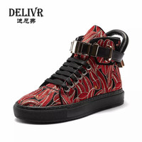 Delivr/кроссовки; мужская обувь с высоким берцем; Красная Вышивка; Новинка; мужские туфли ботинки в английском стиле; Мужская обувь для прогуло