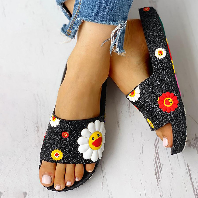Summer Slippers Women Cute Flower Flat Flip Flops Ladies Soft Slides Shoes Female Print Floral Bling Beach Casual Sandals