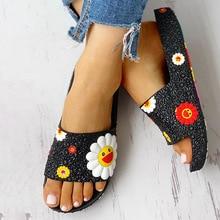 Summer Slippers Women Cute flower Flat Flip Flops Ladies Soft Slides Shoes Female Print Floral Bling Beach Casual Sandals