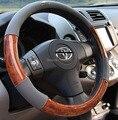 Universal quatro temporadas 38 cm material PVC textura de madeira Pêssego Volante de carro Cobre para Outback Forester Fabia carro cinza cobre