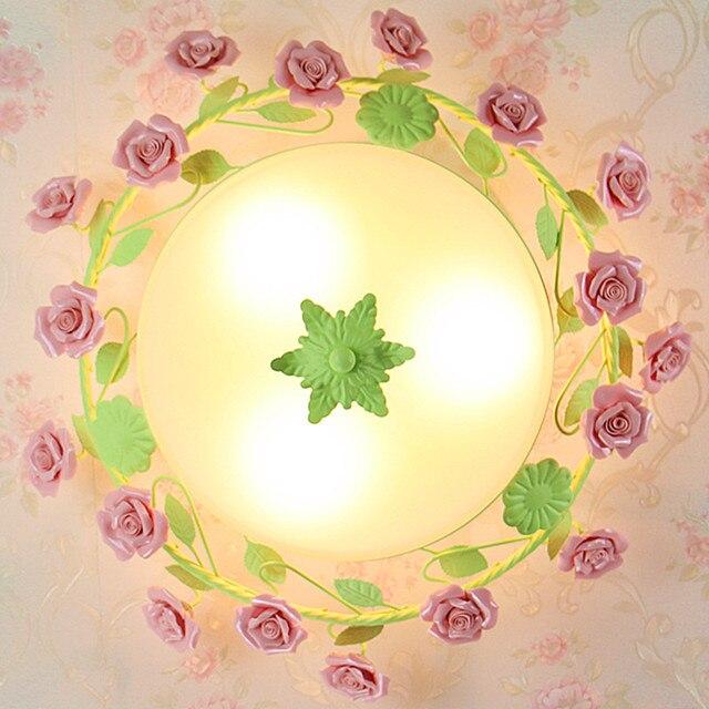 € 116.86 30% de réduction|De style européen jardin salon Restaurants  Romantiques blanc forgé fer rose en céramique fleurs en verre abat jour ...