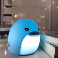 USB Rechargeable Animal Dolphin Cute LED Night Light Baby Kids Cartoon Portable Desk Lamp Changeable Touch Pat Night Lampe