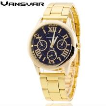 Vansvar High Model Luxurious Stainless Metal Mens Watches Enterprise Gold Wristwatch Quartz Watch Informal Clock Relogio Masculino 1699