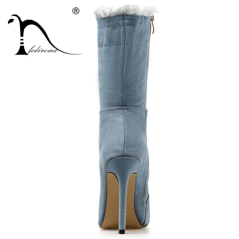 En De becerro Tacón Mediados Punta Mezclilla Fediroma Blue Zapatos Mujer Moda De Otoño Alto Invierno Franja AzqWwE4