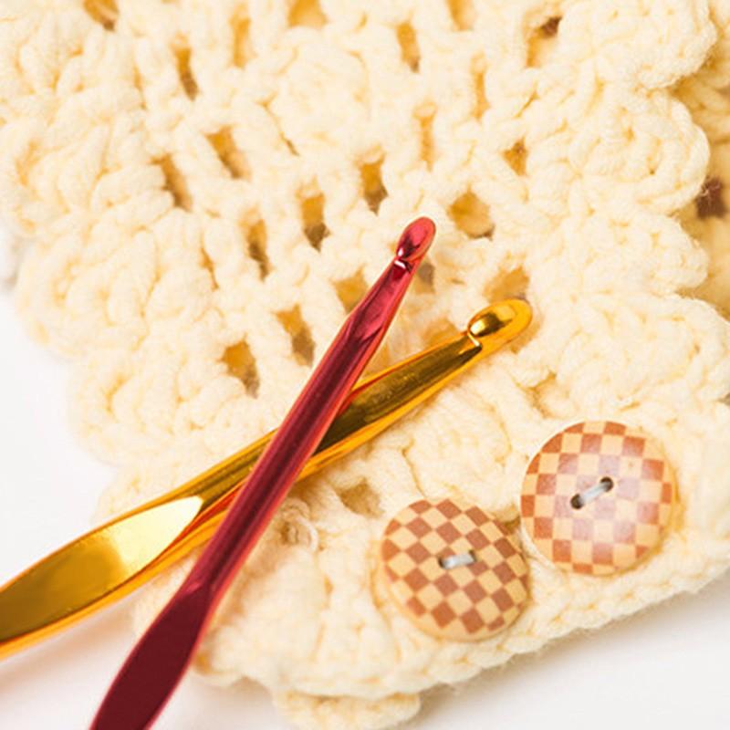 New 22 Pcs/set Metal Hook Crochet Template Kit TPR Aluminum Knitting Needles For Loom Tool DIY Crafts Knitting Accessory 3