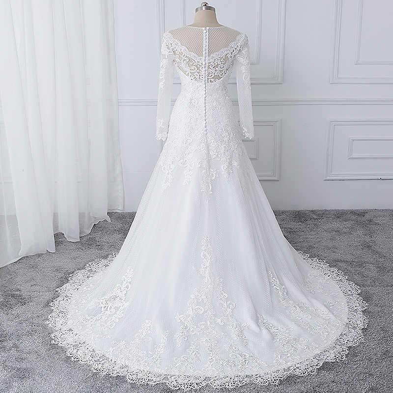 38c622ca65e56c7 ... Wuzhiyi vestido de noiva Свадебные платья с вырезом лодочкой Свадебная  Кружевная аппликация платье на молнии сзади ...