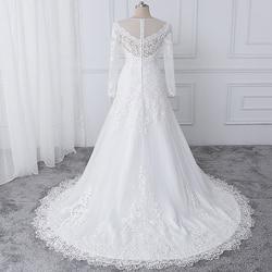 wuzhiyi vestido de noiva Boat neck wedding dresses lace applique wedding gown Zipper back buttons marriage Gown robe de soiree 4