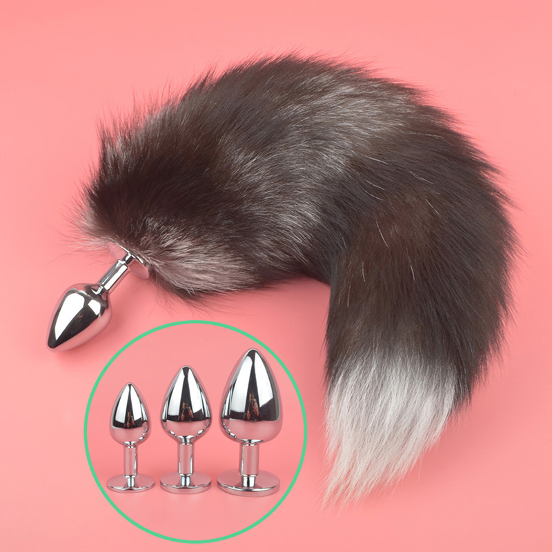 Adult Erotic Accessories 3 Sizes Tail Anal Butt Plug Fur Fox Sex Toys Woman Animal Cosplay Tail Sex Stainless Steel Anus Plugs