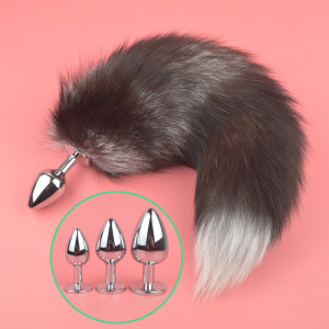 Adult Erotic Accessories 3 Sizes Tail Anal Butt Plug Fur Fox Sex Toys Woman Animal Cosplay Tail Sex Stainless Steel Anus Plugs(China)