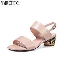 bc15b7c2d95e YMECHIC Lady Summer Med Chunky Heels Back Strap Pink White Summer Shoes  Woman Fashion Ladies Sandals