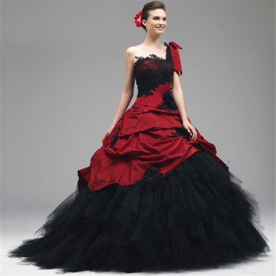 Gothic wedding shop - Red And Black Gothic Wedding Dresses One Shoulder Appliqued Lace Ball Gowns Lace Up Vintage Bridal