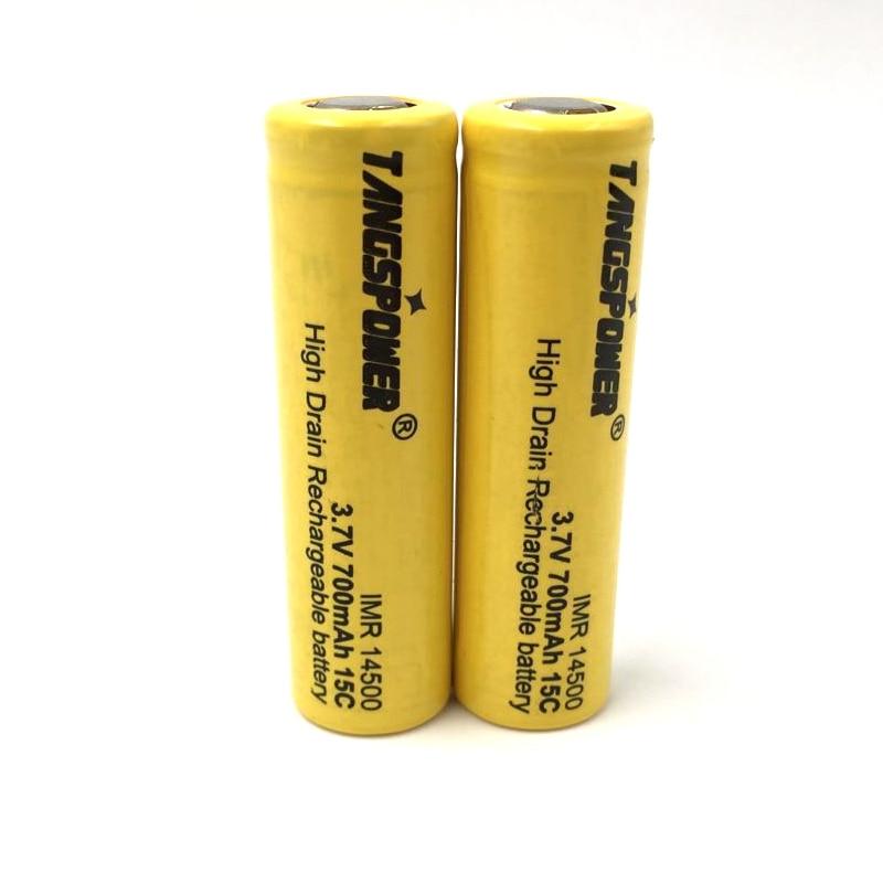 IMR 14500 (tamanho AA) 700 mah 15C 3.7 V Li-ion recarregável bateria topo Plano