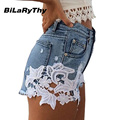 BiLaRyThy Summer Style Sexy Women High Waist Short Jeans Vintage Lace Patchwork Ripped Slim Denim Shorts