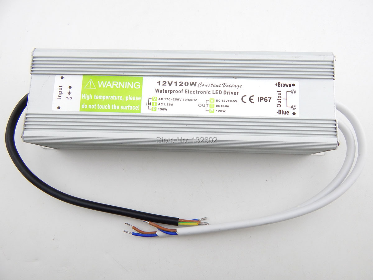 ФОТО 5pcs DC12V 120W IP67 Waterproof Constant Voltage Electronic LED Driver Transformer Power Supply Free Shipping by DHL