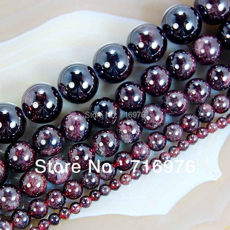 "wholesale Natural Stone Beads Dark Red Garnet Round Loose Beads For Jewelry Making 15.5"" Pick Size 4.6.8.10.12mm  -F00100"