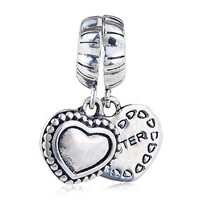 1pcs Lot 925 Sterling Silver With Screw Best Sister Heart Shaped Pendant Double For Necklace