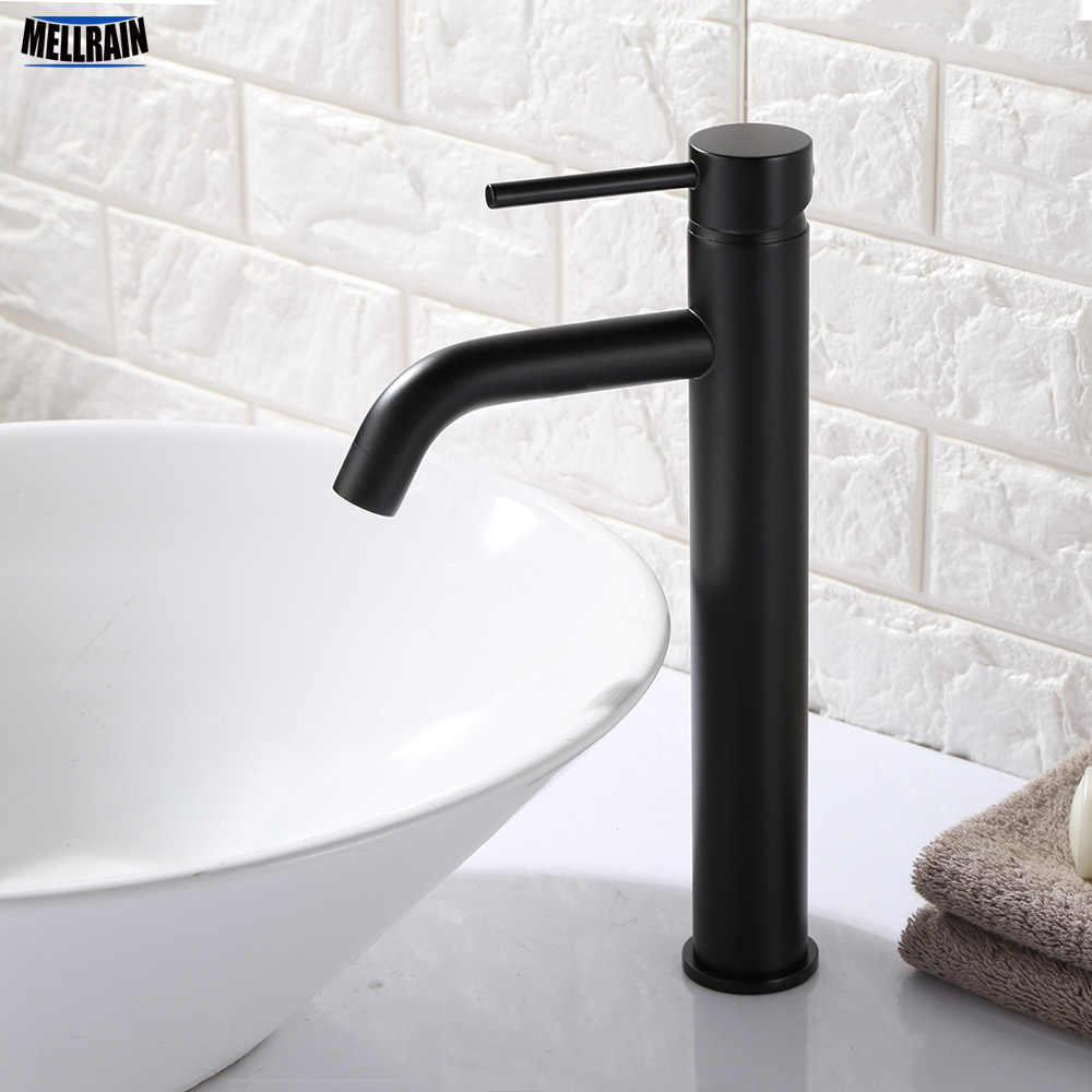 Matt Black & Gold Round Style Basin Water Tap Brass Bathroom Faucet Single Hole Deck Mount Water Mixer