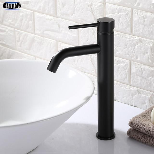Matt Black Gold Round Style Basin Water Tap Brass Bathroom Faucet Single  Hole Deck Mount Water