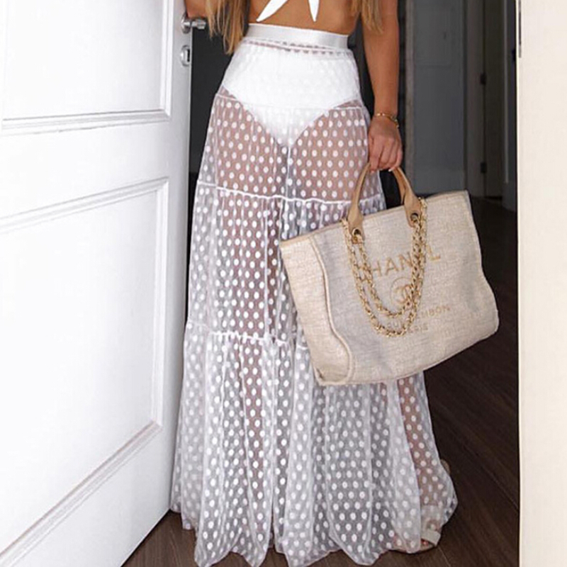 Women Boho Maxi High Waist Sheer Skirt Retro Polka Dot Long Skirts Womens High Waisted Club See Through Party Summer Sundress