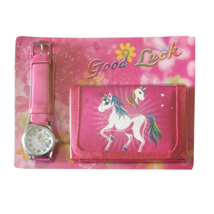 1pcs Hot Sale New Unicorn Cartoon Kids Watch Wristwatch And Wallet Purse Kids Gifts
