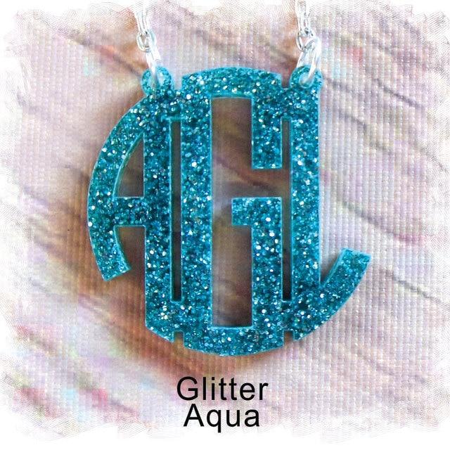 Glitter Acrylic Monogram Necklace ( Monogram Circle Necklace Acrylic Jewelry  Special Laser Cut ) Monogram Gift 86cd409f9003
