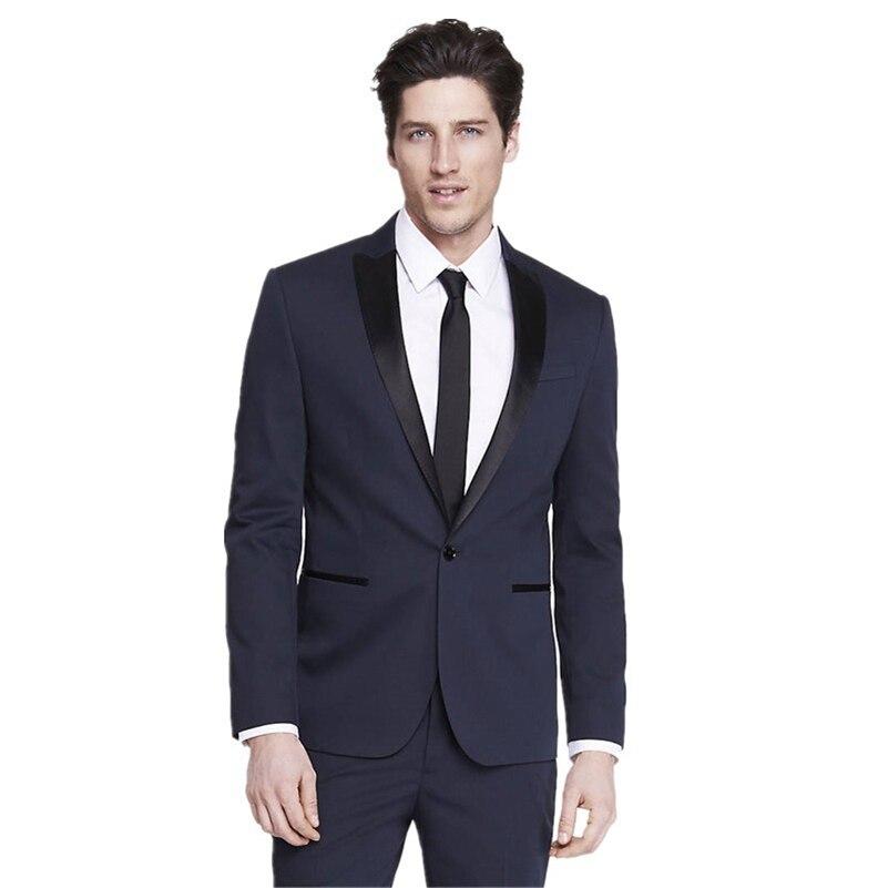 Mens Suits Groomsmen Peak Black Satin Lapel Groom Tuxedos