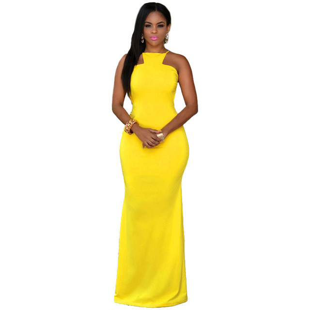 2015 Yellow Bandage Backless Sexy Women Long Dress Formal Floor Length Maxi  Black Evening Party Dress Ladies Prom Gowns Robe 97 0d619a3fd
