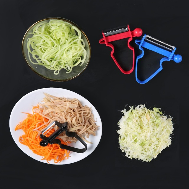 3 pcs Set Slicer Shredder Peeler Julienne Cutter Multi Peel Stainless Steel Blade Zesters Kitchen Tools Magic Trio Peeler Set 1
