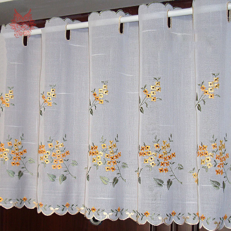 New fashion yellow floral embroidery lace half curtain bay window curtain for coffeekitchen