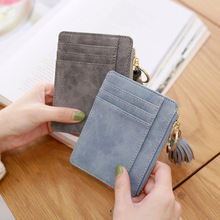 Slim ladies wallet short small bag pu leather credit card package thin tassel zipper wallet purse цена 2017