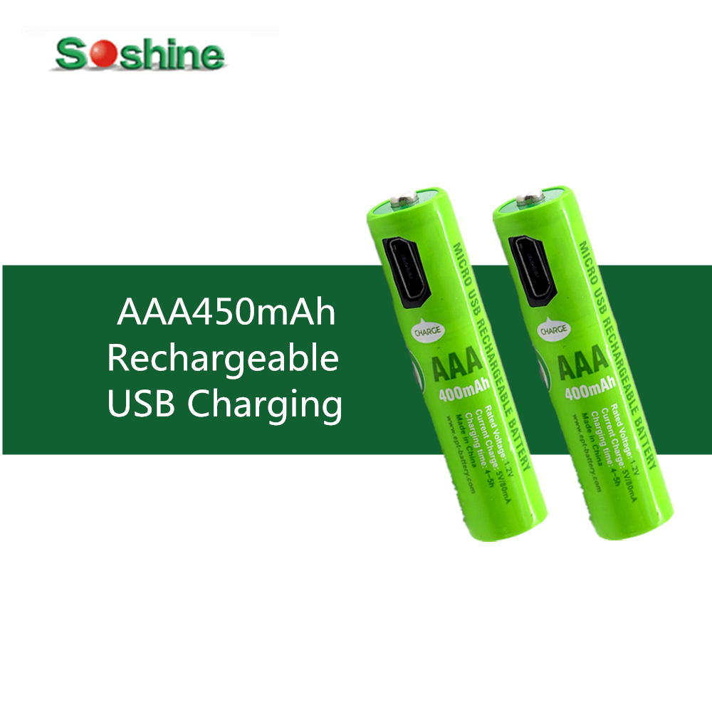 2 Pcs Original Soshine NiMH USB AAA 450mAh Rechargeable Battery with Built-In Micro USB Port 2 ways to charge