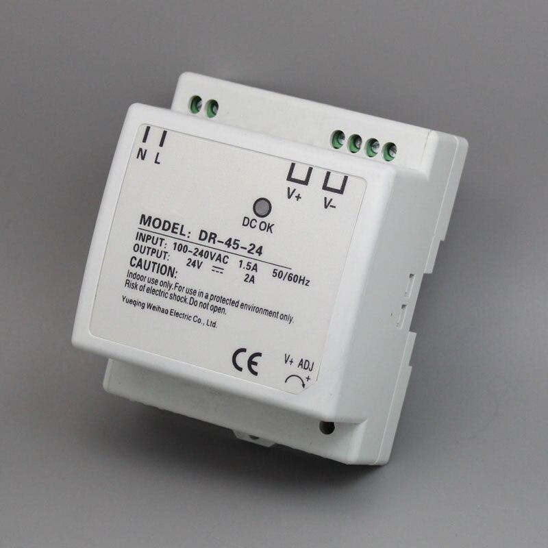 45w din rail mount switching power supply 24V Single Output AC LED input SMPS DR45 24v for cnc led light Direct Selling in Switching Power Supply from Home Improvement