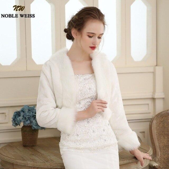 Women Winter faux fur Long Sleeve wedding jacket bolero wraps ...