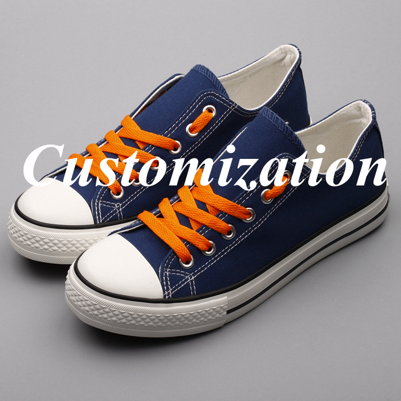 E-LOV Color Lace-up USA Students Casual Flat Canvas Shoes Custom America College Team Fans Walking Shoes Espadrilles Plus Size image