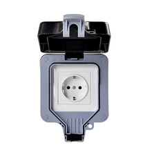 IP66 Weatherproof Waterproof Outdoor Wall Power Socket 16A EU Standard Electrical Outlet Grounded AC 110~250V