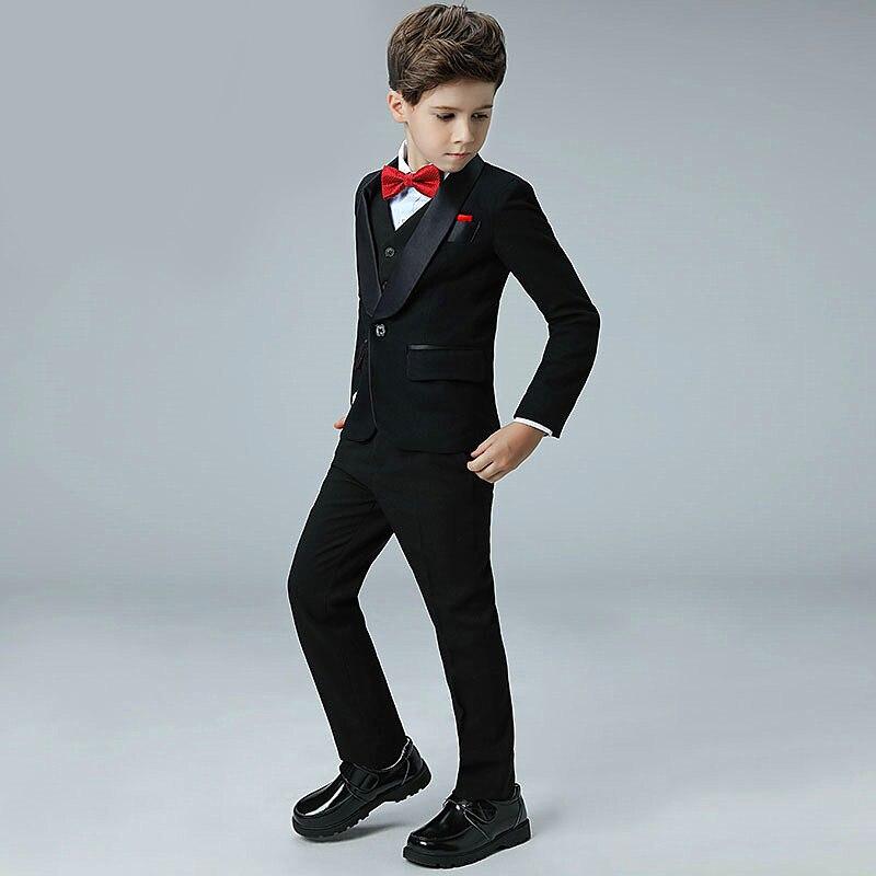 5 Piece 2019 New Boy Flower Girl Wedding Suit Korean Boys Prom Suits British Children Suit Costume Enfant Garcon Mariage Tuxedo